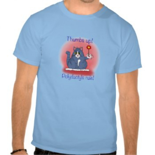 This Polydactyls Rule t shirt is available at Zazzle, and makes a cool gift for someone whose cat has more than the customary number of toes.