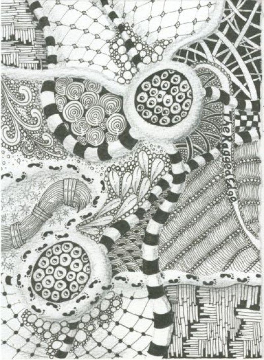 Finished Zentangle Inspired Art (ZIA). Can you spot the tangles I discovered in my home?