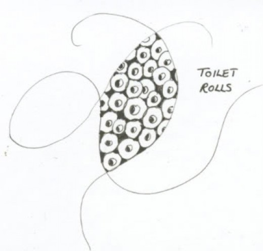 A tangle inspired by rolls of toilet tissue.