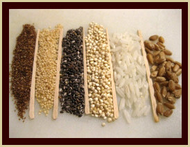 LEFT TO RIGHT Teff, Amaranth, Chia, Quinoa, White Rice, Wheat