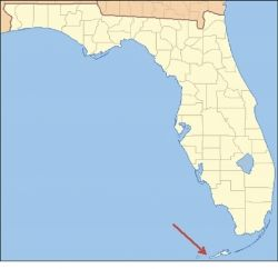 Map of Florida (p.d.) indicating location of the Capital of the Conch Republic