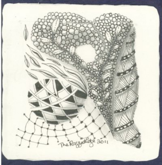 Zentangle Workshop Completed Drawing