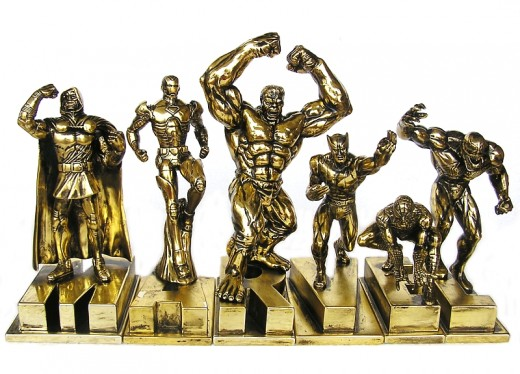 MARVEL Gold Resin Figure Set of 6 San Diego Comic Con 2010 Exclusive