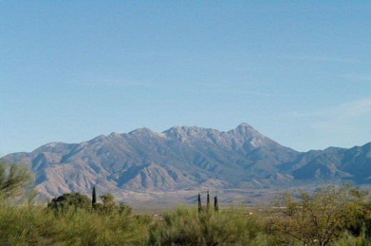 Later. The Santa Rita Mountains in the distance. The peak is Mount Baldy.