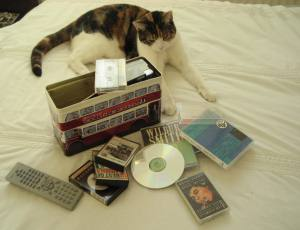 tapes and cat