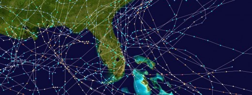 The graphic above shows the tracks of tropical cyclones (storms or hurricanes) that had effects on Florida between 1975 and 1999. Source: National Hurricane Center