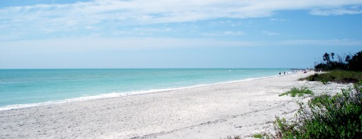 Beach destinations such as Sanibel Island, above, are likely to be less crowded but much cooler during the spring and fall. Source: public domain