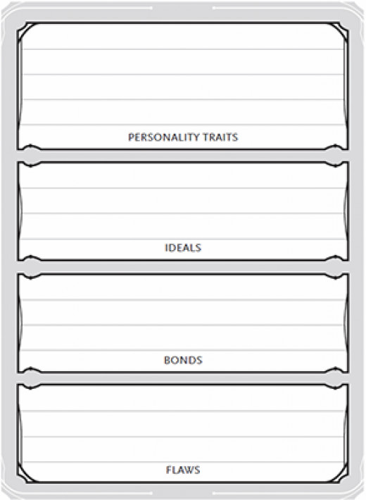 You enter a summary of your background details in these boxes on the right side of the character sheet.