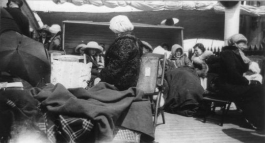 Titanic Survivors on the deck of Carpathia