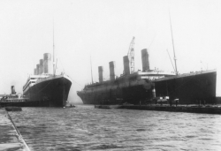 Olympic and Titanic at Belfast, Ireland, drydock in 1912