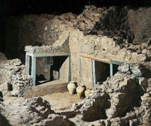 Excavations Site in Akrotiri of Santorini
