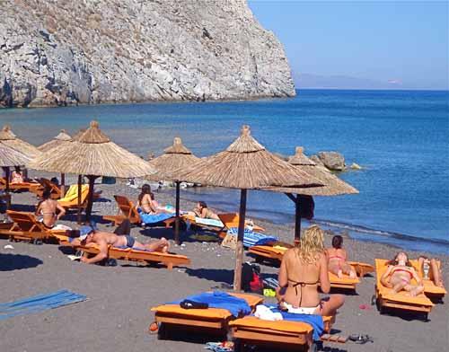 Perissa Black Sand Beach - Santorini, Greece