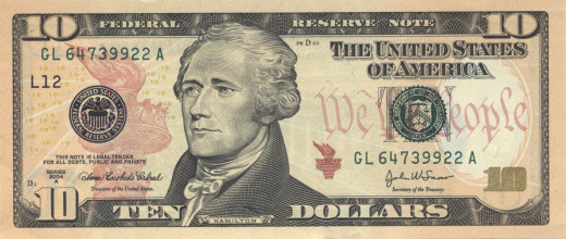 Alexander Hamilton on U.S. Ten Dollar Bill  (public domain image)