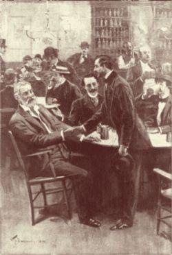 Walt Whitman and William Dean Howells meeting at Pfaff's Restaurant