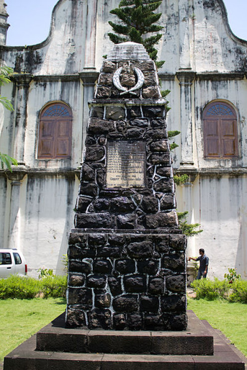 First World War Memorial at St. Francis Church, Fort Kochi. The names of the soldiers killed are inscribed in the commemorative plaque