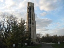 Moser Tower and Millennium Carillon in Riverwalk Park in downtown Naperville