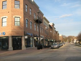 A block of shops in downtown Naperville