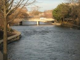 The Du Page River running through Naperville's Riverwalk Park