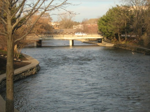 The Du Page River running through Naperville's Riverwalk Park