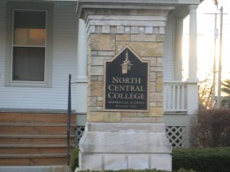 Signage throughout the North Central College section of Naperville's historic district