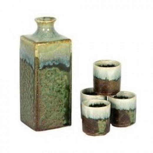 Rustic Green Square Sake Set