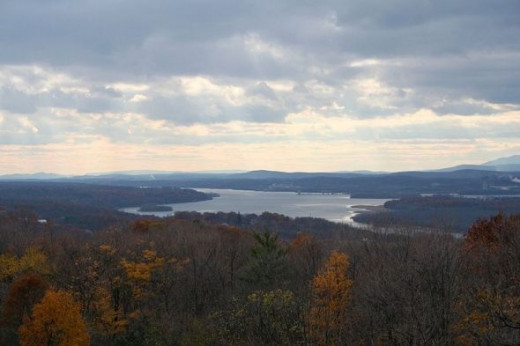 View of the Hudson Valley in late fall from the Olana Mansion