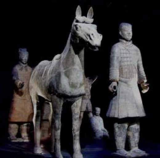 Terracotta soldiers with horse