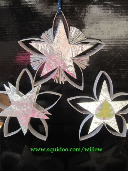 Simple crafts tp roll star christmas ornament - Estrellas de papel para navidad ...