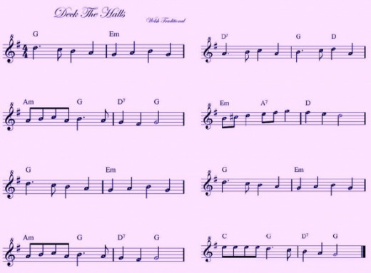 Deck The Halls Melody with Chord Letters