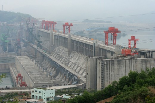 Three Gorges Dam in China, shown during construction. Copyright Christoph Filnkößl.