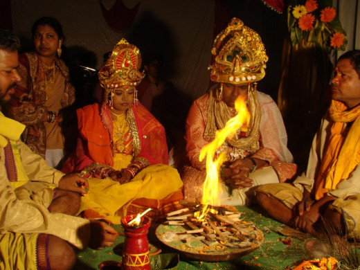 Fire rituals at a Hindu Wedding, Orissa India