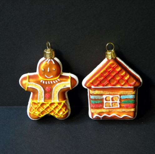 Polish blown-glass Christmas ornaments bought here in the U.S.  The house reminds me of architecture of Beskid mountain houses.