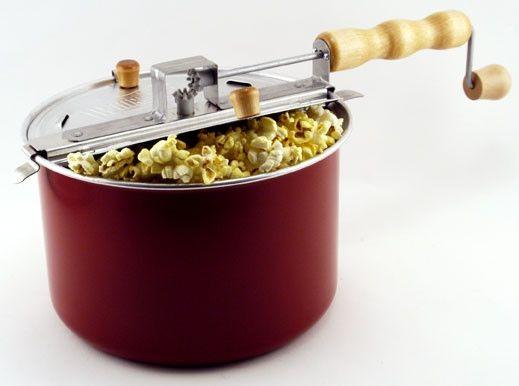 Stove-top popcorn-making pan