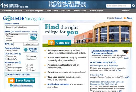 College Navigator website