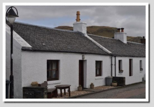 Whitewashed cottages once the home of slate workers