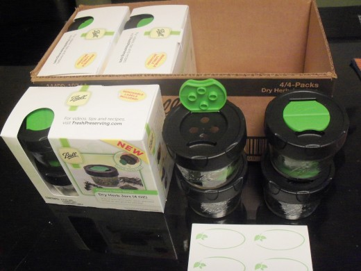 Found these great 4oz. glass herb jars by BALL- come 4 in a pack and include blank labels