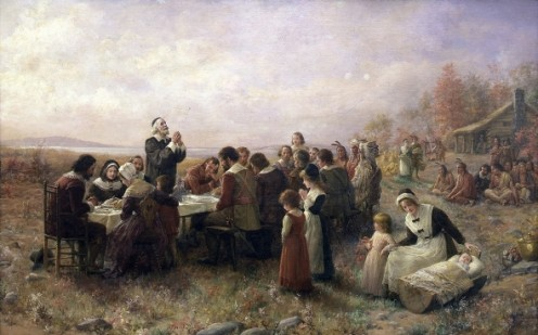 Typical 19th Century View of the First Thanksgiving at Plymoth. Thanksgiving in North America originates from a mix of European and Native traditions. This painting helps to distort the happenings of 1621.