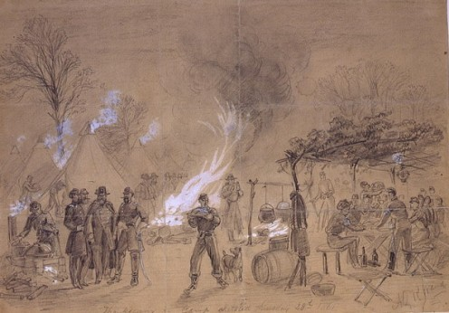 Sketch of Thanksgiving in the camp of General Louis Blenker by Alfred R. Waud