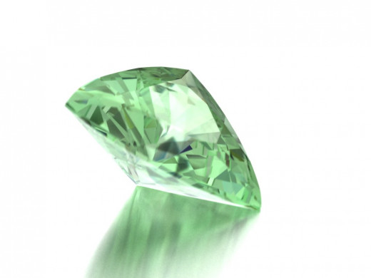 Trillion Shaped Green Diamond