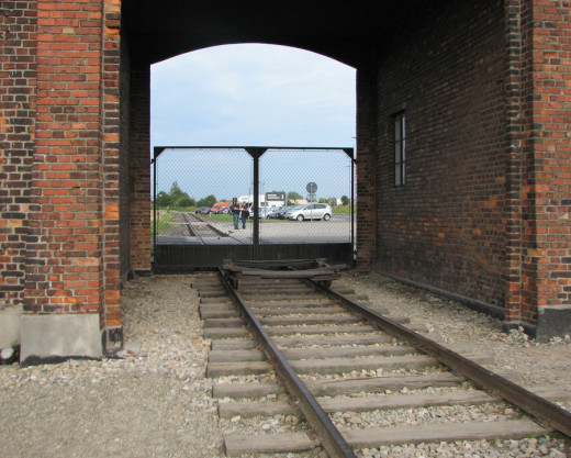 """Train tracks leading into Auschwitz.  Scenes of these tracks were used in the movie """"Schindler's List."""""""