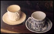 Knitted teacups, perhaps Debbie New's best-known work. Patterns are in Unexpected Knitting.
