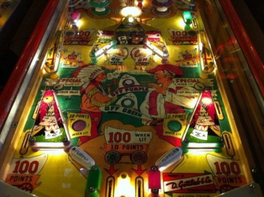 A cowboys and Indians themed pinball machine from the 1940s.