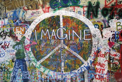 Imagine Peace Sign on Wall Art Print Poster