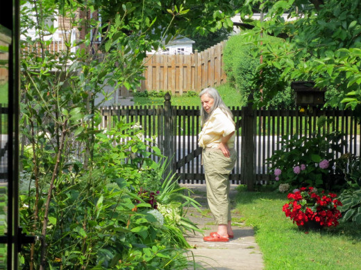 My mom perusing her garden. The potted tomato plants produced well this year.