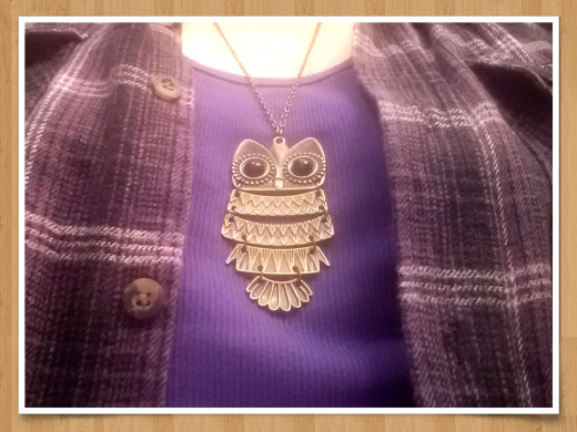 ME wearing my owl necklace!