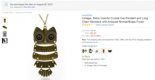 Purchased owl necklace August 2012