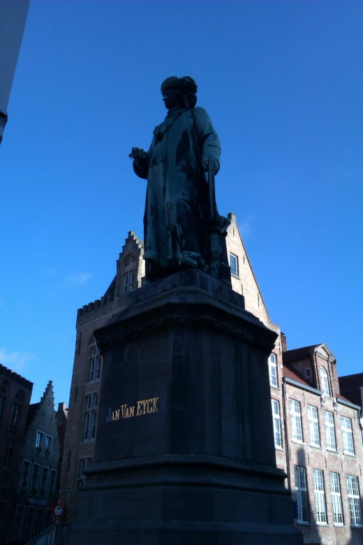 A statue of the famous artist Jan Van Eyck, who lived in Bruges.