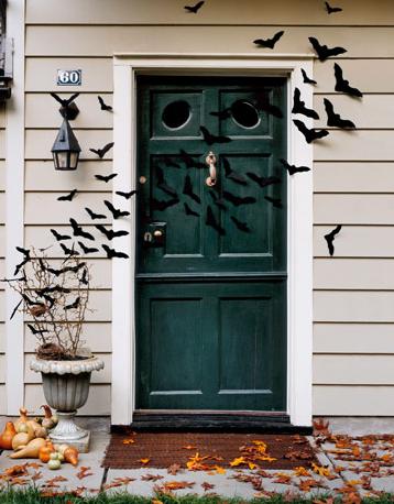 Creepy flock of bats at the door. Featured on Simplified Bee.