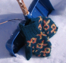 Fish Mittens, my own design. Pattern available at Revelry.