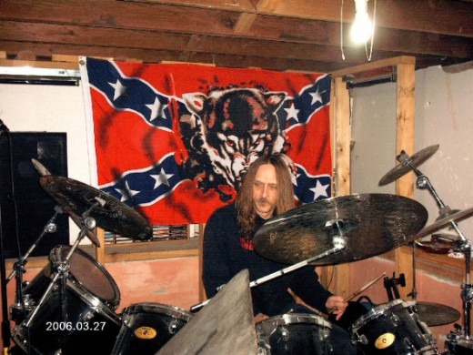"Rick as the drummer in ""The Confederate Boogiemen""Photo copyright Shari O'Leary"